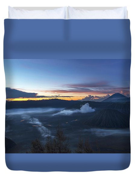 Duvet Cover featuring the photograph Dawn Breaking Scene Of Mt Bromo by Pradeep Raja Prints
