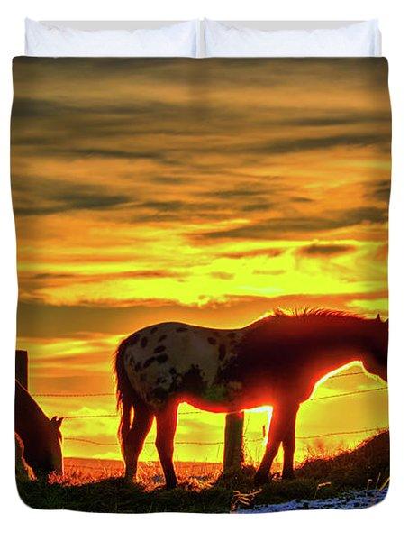Dawn Horses Duvet Cover