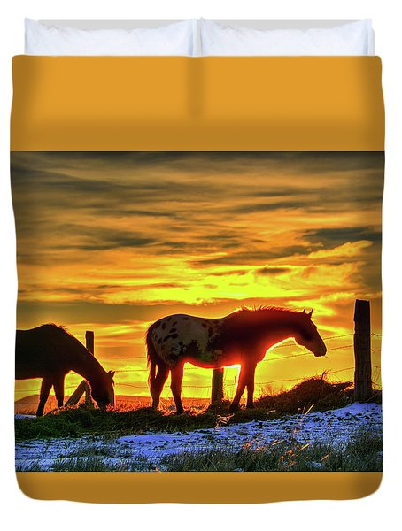 Dawn Horses Duvet Cover