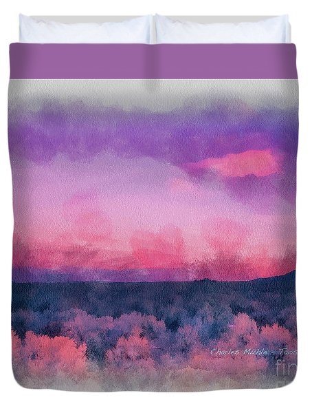 Dawn In Taos In Aquarelle Duvet Cover