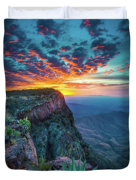 Dawn In The Chisos Duvet Cover