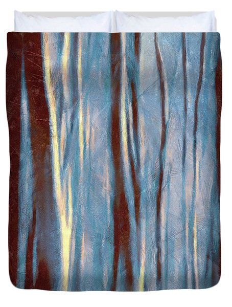 Dawn In The Winter Forest - Landscape Mood Lighting Duvet Cover