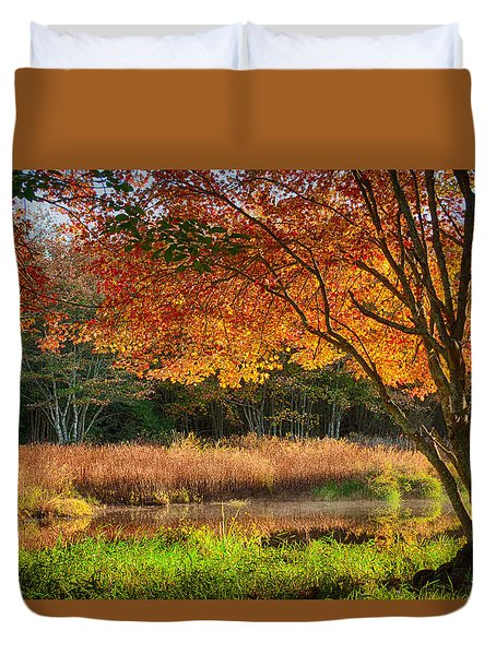 Dawn Lighting Rhode Island Fall Colors Duvet Cover
