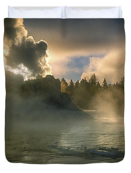 Dawn On Castle Geyser Duvet Cover by Sandra Bronstein
