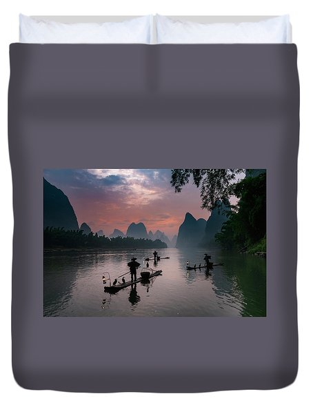 Waiting For Sunrise On Lee River. Duvet Cover