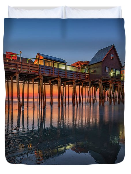 Dawn On Old Orchard Beach Duvet Cover