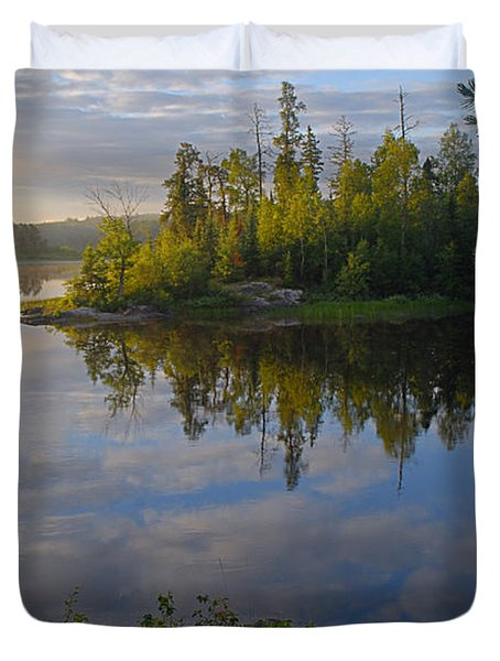 Dawn On The Basswood River Duvet Cover