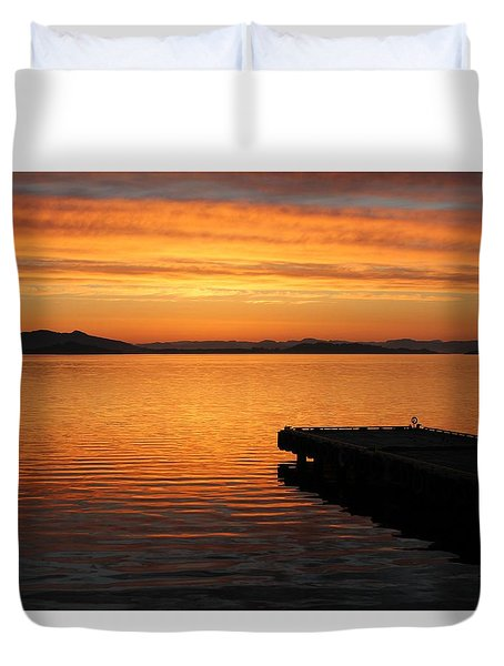 Dawn On The Water At Dusavik Duvet Cover