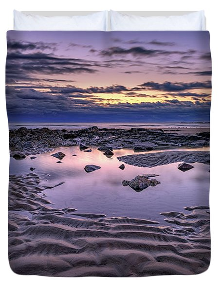 Duvet Cover featuring the photograph Dawn On Wells Beach by Rick Berk