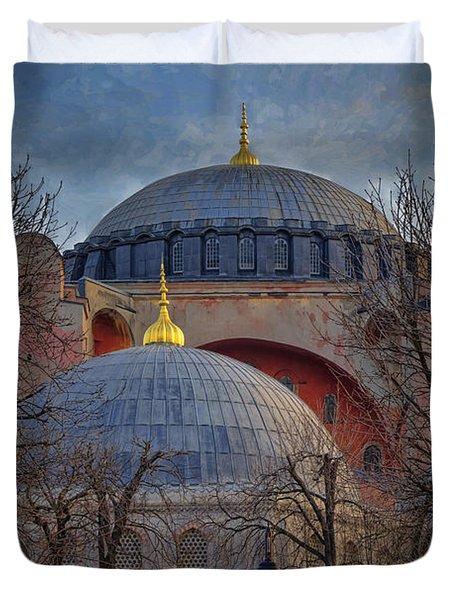 Dawn Over Hagia Sophia Duvet Cover by Joan Carroll