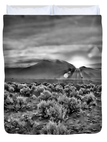 Dawn Over Magic Taos In B-w Duvet Cover