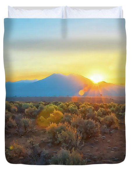 Dawn Over Magic Taos Mountain Duvet Cover
