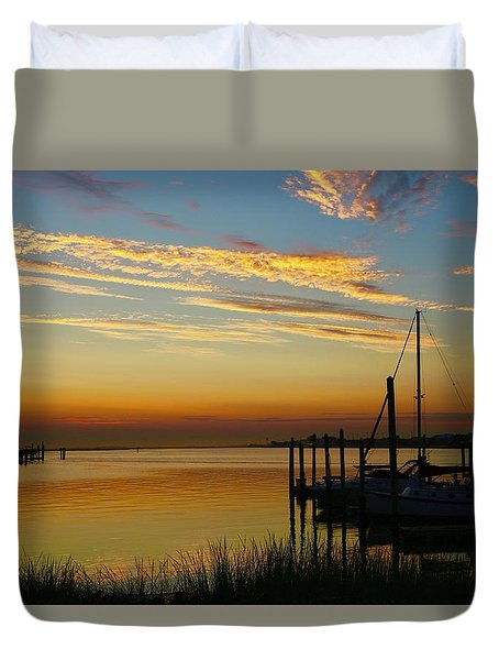 Dawn Over The Bay Duvet Cover