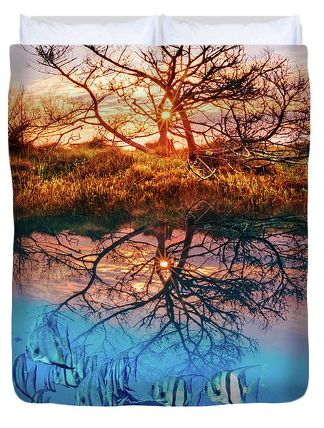 Duvet Cover featuring the photograph Dawn Over The Reef by Debra and Dave Vanderlaan