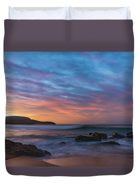Dawn Seascape With Rocks And Clouds Duvet Cover