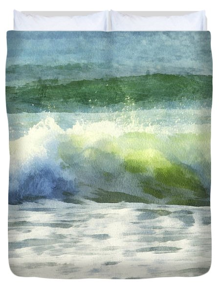 Duvet Cover featuring the digital art Dawn Wave by Francesa Miller