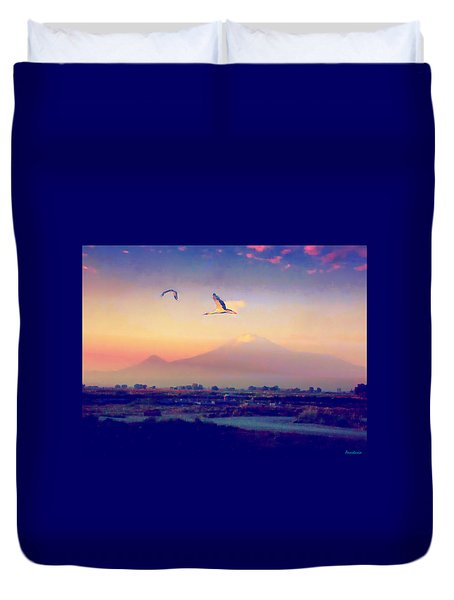 Dawn With Storks And Ararat From Night Train To Yerevan Duvet Cover by Anastasia Savage Ealy