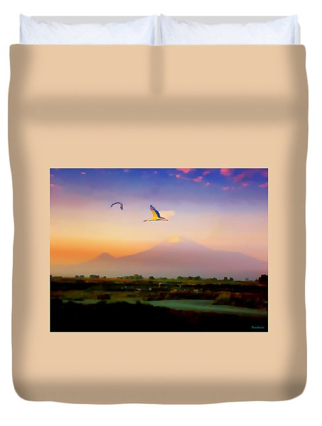 Dawn With Storks And Ararat From Night Train To Yerevan II Duvet Cover by Anastasia Savage Ealy