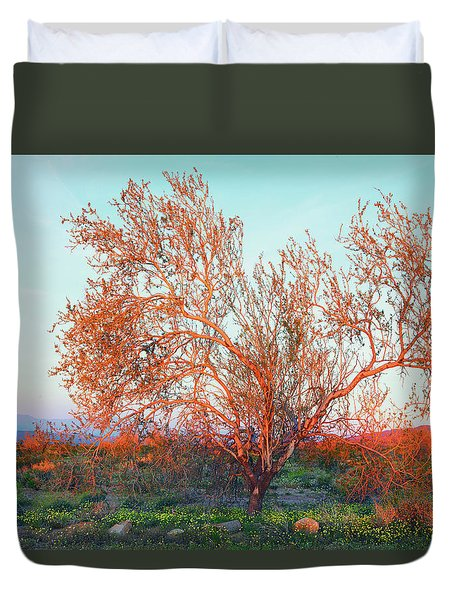 Duvet Cover featuring the photograph Dawn's First Light At Joshua Tree National Park by Ram Vasudev