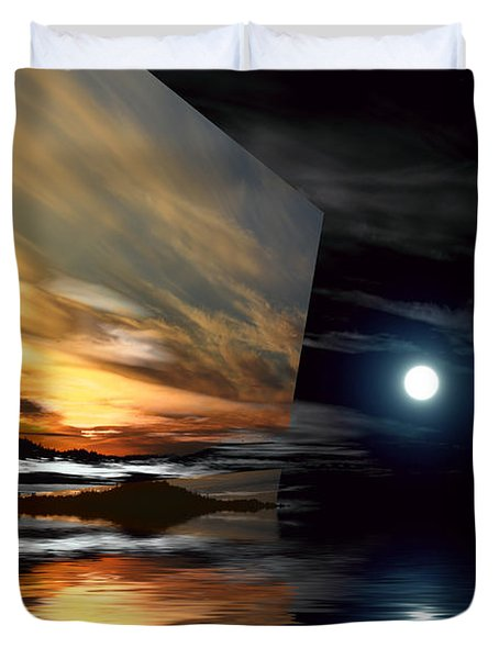 Day And Night Welcome Beach Duvet Cover by Elaine Hunter