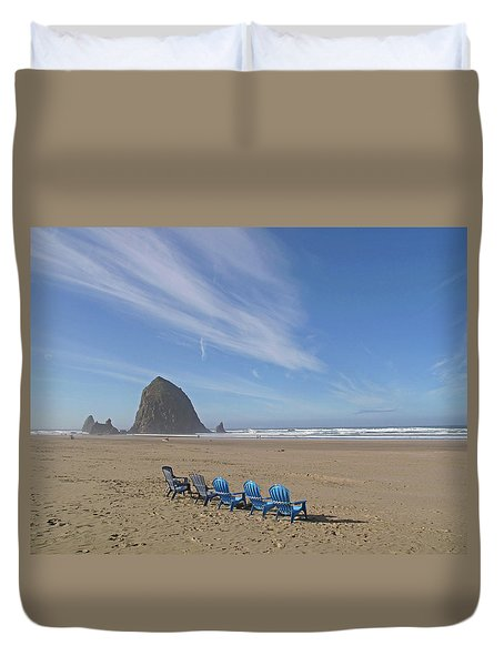 Day At Haystack Rock Duvet Cover