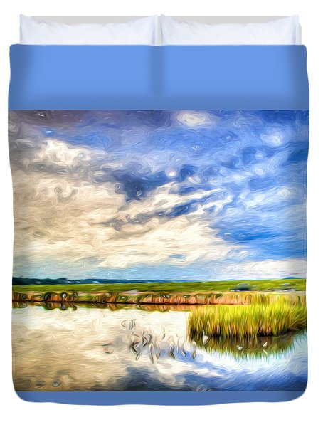 Day At The Marsh Duvet Cover