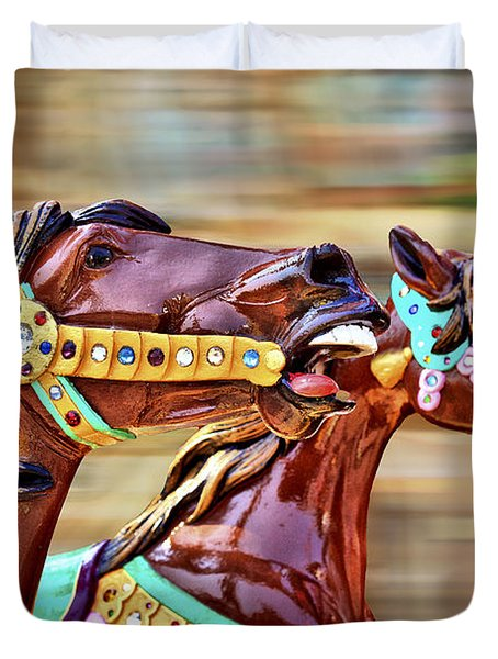Day At The Races Duvet Cover by Evelina Kremsdorf