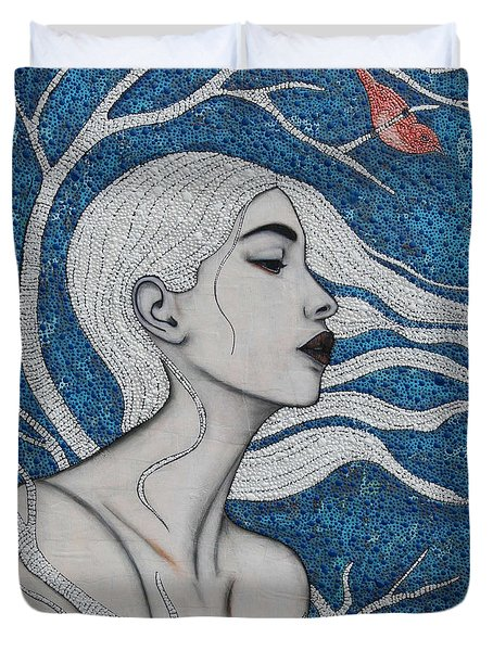 Duvet Cover featuring the mixed media Day Dreamer by Natalie Briney