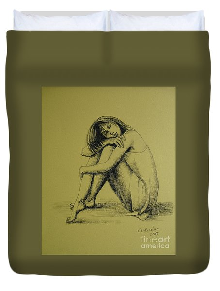 Duvet Cover featuring the drawing Day Dreaming by Elena Oleniuc