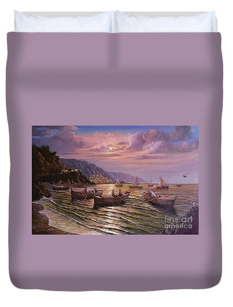 Day Ends On The Amalfi Coast Duvet Cover