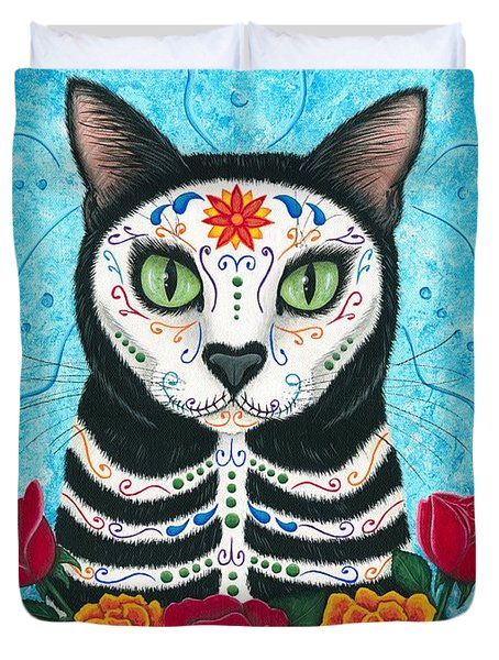 Day Of The Dead Cat - Sugar Skull Cat Duvet Cover by Carrie Hawks