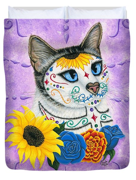 Day Of The Dead Cat Sunflowers - Sugar Skull Cat Duvet Cover by Carrie Hawks