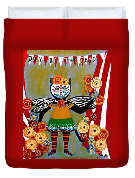 Day Of The Dead Circus Kitty Duvet Cover
