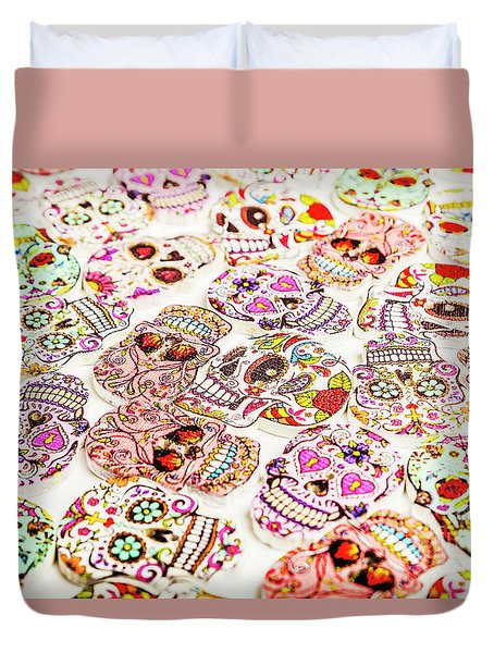 Day Of The Dead Colors Duvet Cover