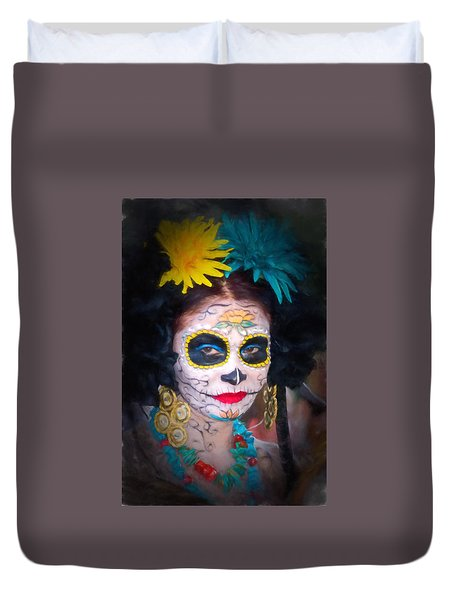 Day Of The Dead Flower Lady Duvet Cover