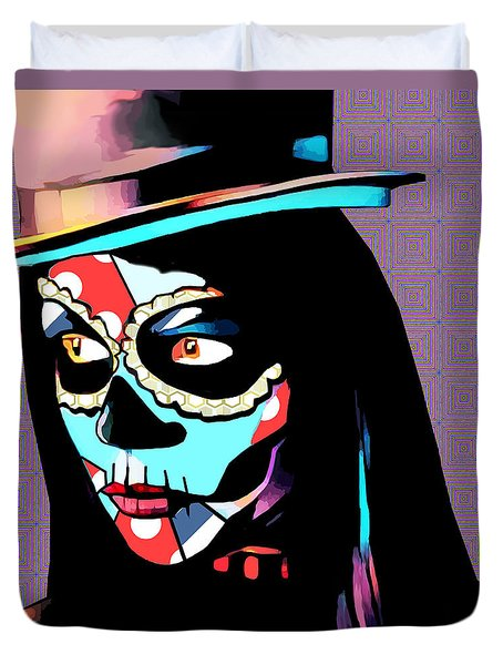 Day Of The Dead Skull Woman Wearing Top Hat Duvet Cover