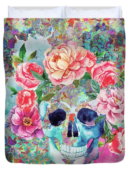 Day Of The Dead Watercolor Duvet Cover