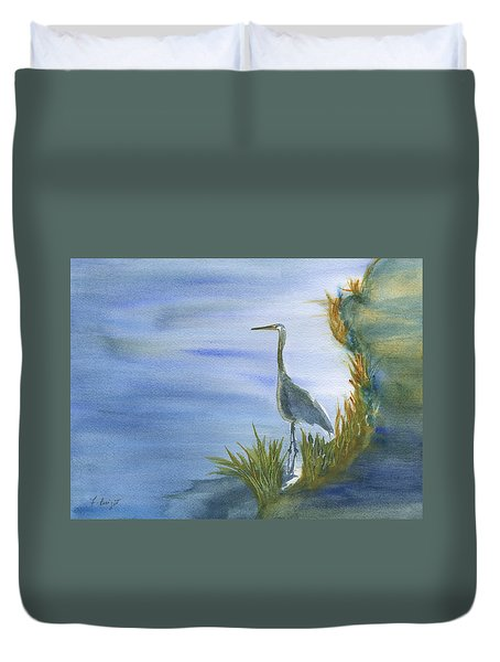 Daybreak With A Great Blue Heron  Duvet Cover by Frank Bright