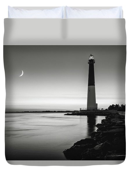 Duvet Cover featuring the photograph Daybreak At Barnegat, Black And White by Eduard Moldoveanu