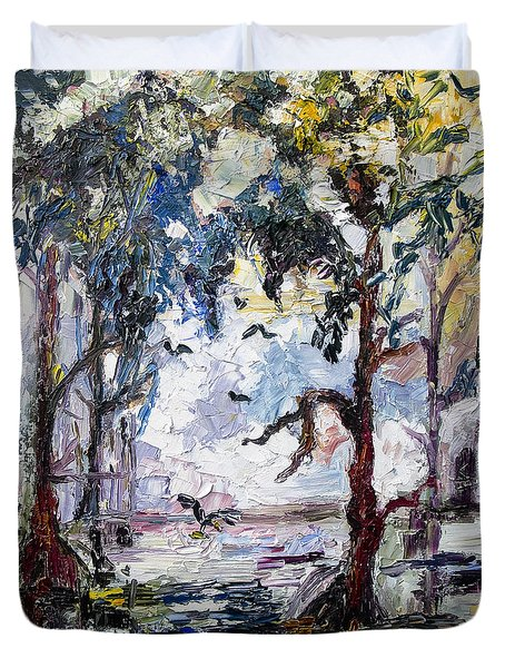 Duvet Cover featuring the painting Daybreak In The Okefenokee by Ginette Callaway