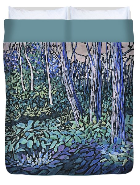Duvet Cover featuring the painting Daybreak by Joanne Smoley