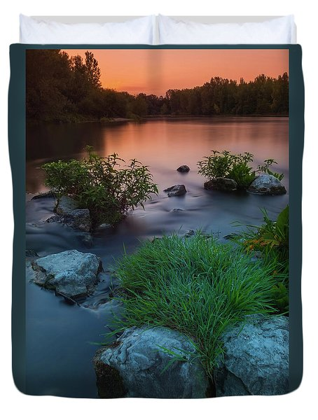 Duvet Cover featuring the photograph Daybreak Over The Old Riverbed by Davor Zerjav