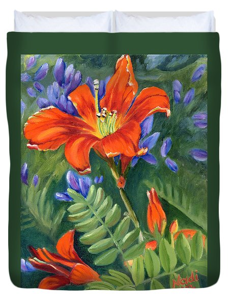 Duvet Cover featuring the painting Daylilies by Renate Nadi Wesley