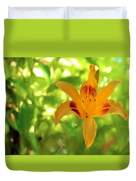 Duvet Cover featuring the digital art Daylily by Charles Ables