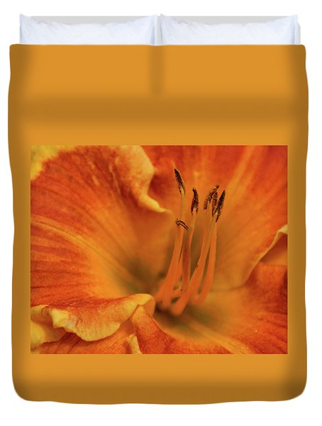 Duvet Cover featuring the photograph Daylily Close-up by Sandy Keeton