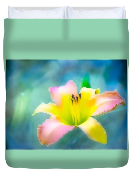 Daylily In Blue Duvet Cover