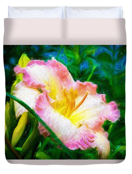 Daylily In Paint Duvet Cover