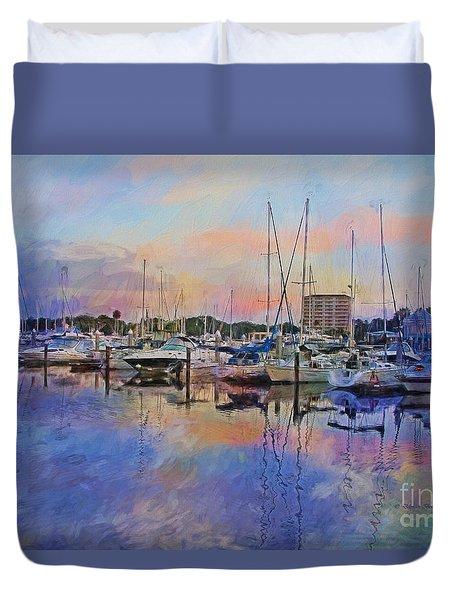 Daytona Boat Docks Duvet Cover by Deborah Benoit