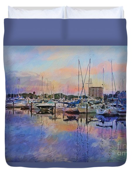 Daytona Boat Docks Duvet Cover