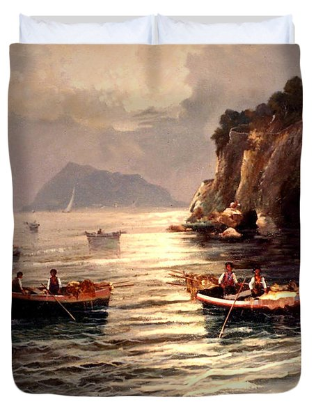 Day's End And Work Begins In The Gulf Of Naples Duvet Cover